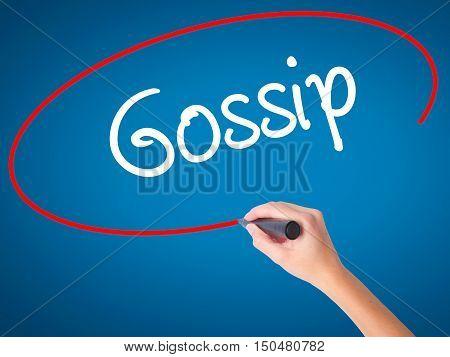 Women Hand Writing Gossip With Black Marker On Visual Screen