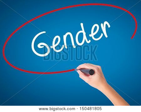 Women Hand Writing Gender  With Black Marker On Visual Screen