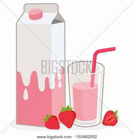 Milk carton, strawberry glass of milk and strawberries