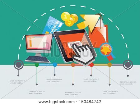 On-line Market Infographic Time line. Vector template.