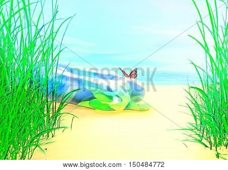 Summer beach. Rubber baby circle lies on the sand. A butterfly sat on its surface.3D illustration