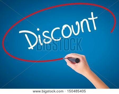 Women Hand Writing Discount With Black Marker On Visual Screen