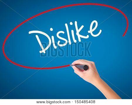 Women Hand Writing Dislike  With Black Marker On Visual Screen