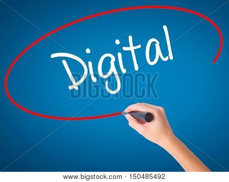 Women Hand Writing Digital With Black Marker On Visual Screen