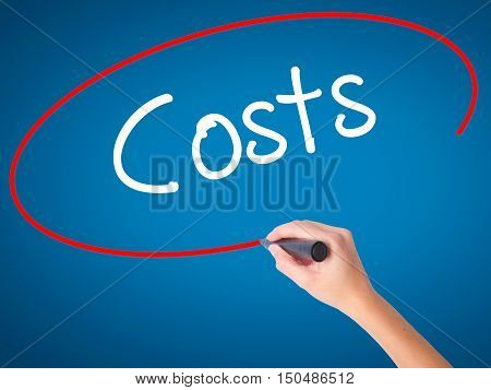 Women Hand Writing Costs  With Black Marker On Visual Screen