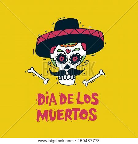 Day of the Dead. Mexican human skull in sombreros. Lettering. Hand-drawn, lino-cut. Flat design vector illustration.