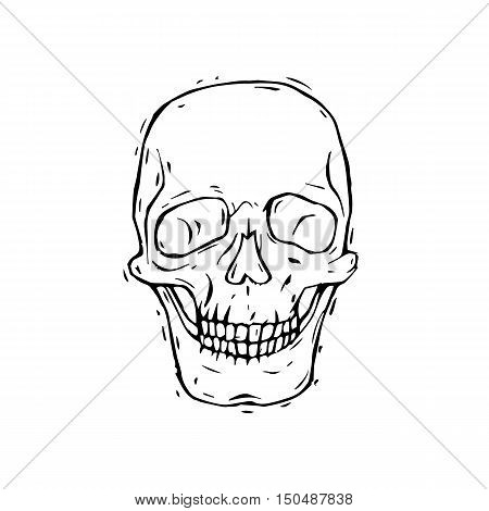Human skull black and white isolated on white background. Day of the Dead. Hand-drawn, lino-cut. Flat design vector illustration.