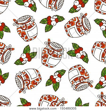 Vector Seamless Red Berry Pattern.
