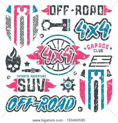 Stock Vector Set Of Off-road Car Badges