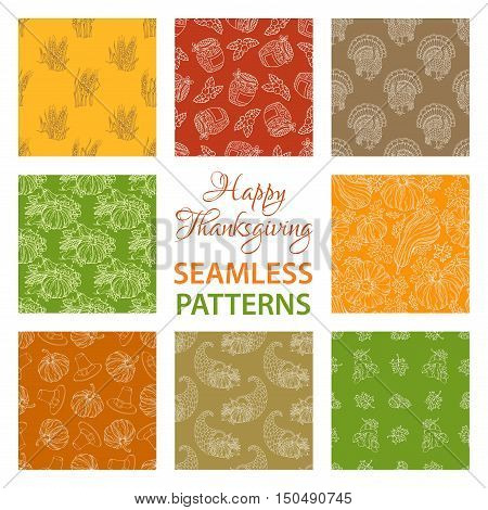 Vector Set Of Outlined Seamless Thanksgiving Patterns.