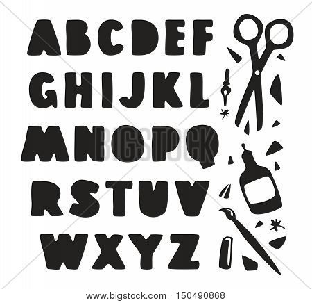 Stock vector hand drawn alphabet for your design. Black print on white background