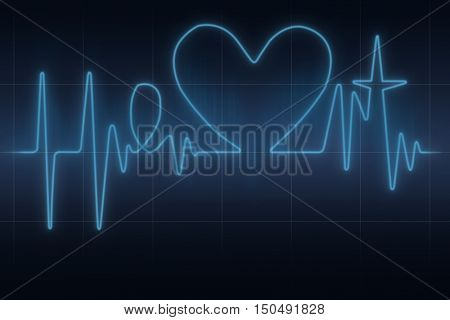Conceptual blue ecg graph in the shape of heart word with heart symbol