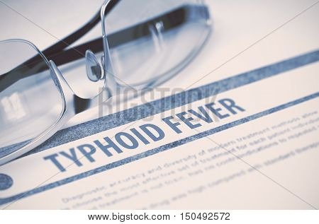 Typhoid Fever - Medicine Concept on Blue Background with Blurred Text and Composition of Specs. 3D Rendering.