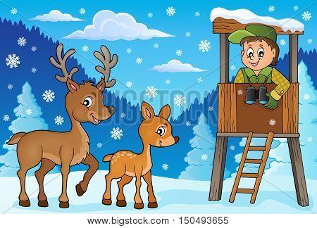 Forester winter theme 1 - eps10 vector illustration.