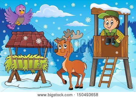 Forester winter theme 3 - eps10 vector illustration.