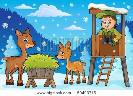 Forester winter theme 2 - eps10 vector illustration.