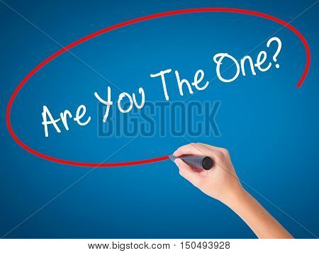 Women Hand Writing Are You The One? With Black Marker On Visual Screen
