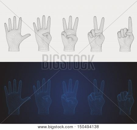 3D vector wireframe counting hand pose set in various style that you can flip for left or right hand