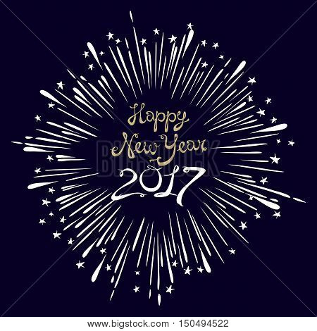 Happy New Year Card With Starburst. Snowflake Wineglass Champagne Vector Illustration.
