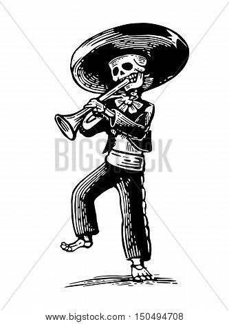 Day of the Dead Dia de los Muertos. The skeleton in the Mexican national costumes dance and play the trumpet. Vector hand drawn vintage engraving for poster label. Isolated on white background
