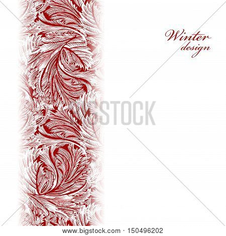 Border frozen glass decor. Winter holiday blue frost background. Blue, cyan and white vertikal design banner with snow hoar frost ice for winter holiday template. Vector illustration stock vector.