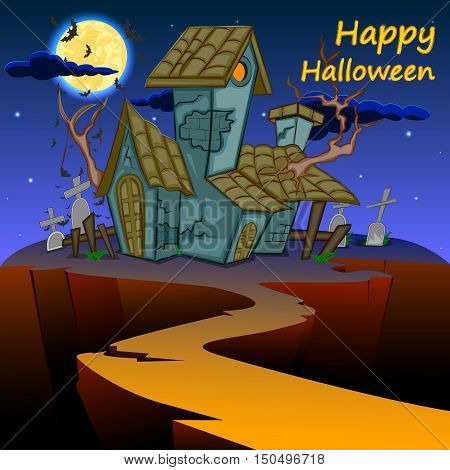 easy to edit vector illustration of haunted house Happy Halloween scary background