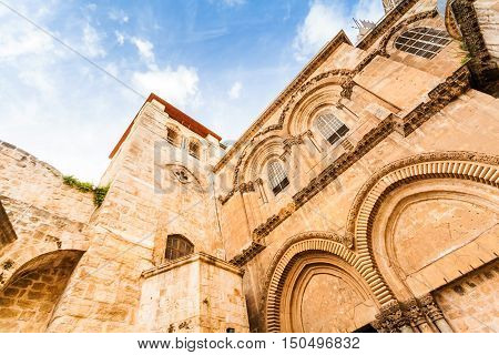 Entrance to the Church of the Holy Sepulchre. Patio and the main facade. Jerusalem, Israel.