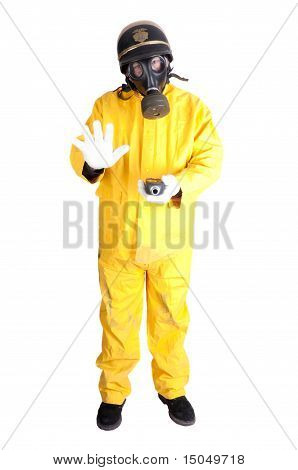 Policeman In Hazmat Clothing With Gieger Counter
