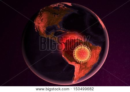 Zika virus and Brazil, 3D illustration. A virus which causes Zika fever found in Brazil and other tropical countries. Zika fever in pregnant women leads to microcephaly in fetus. Elements of image furnished by Nasa