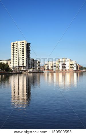 Cardiff, Wales, UK, September 14, 2016 :  Roath Basin which was the largest undeveloped site in Cardiff Bay and is now being regenerated with new homes and commercial spaces