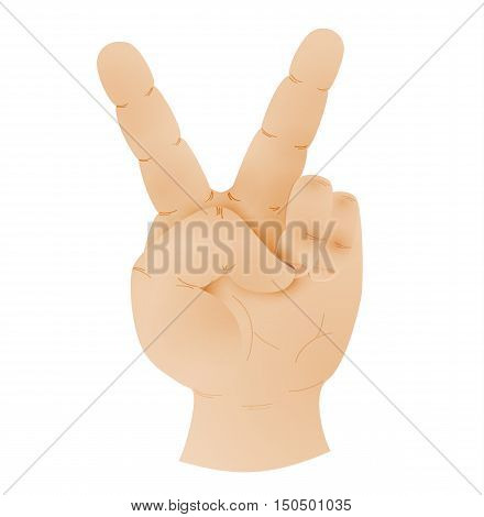 Human Hand Showing Peace Sign Vector En Foto Bigstock