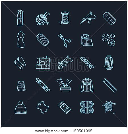 Thin line icons set - needlework, sewing, knitting for your design poster