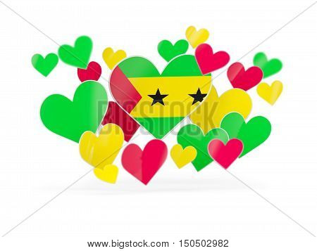 Flag Of Sao Tome And Principe, Heart Shaped Stickers