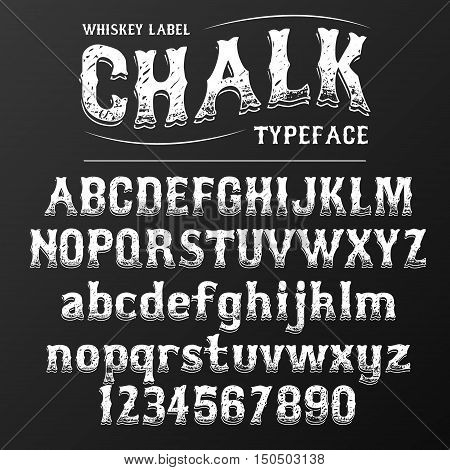 modern font western letters in chalk board style, uppercase and lowercase