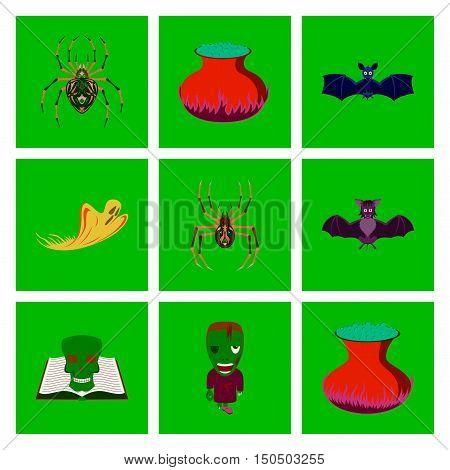 assembly of flat illustration halloween cute bat spider book skull ghost cauldron zombie men