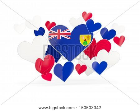 Flag Of Turks And Caicos Islands, Heart Shaped Stickers