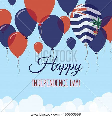 British Indian Ocean Territory Independence Day Flat Greeting Card. Flying Rubber Balloons In Colors