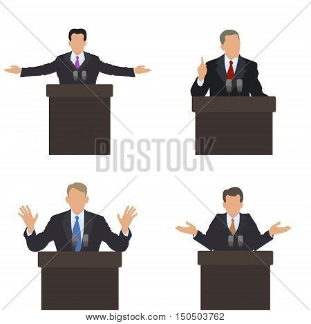 He stands in front of an audience gestures. Set of different poses. Presentation presentation conference debate. Vector illustrations.