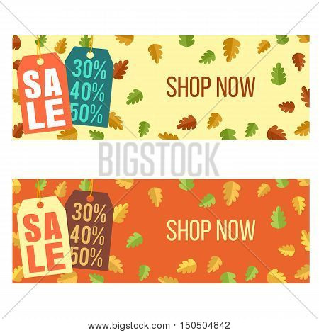 Autumn sale web banners and headers design
