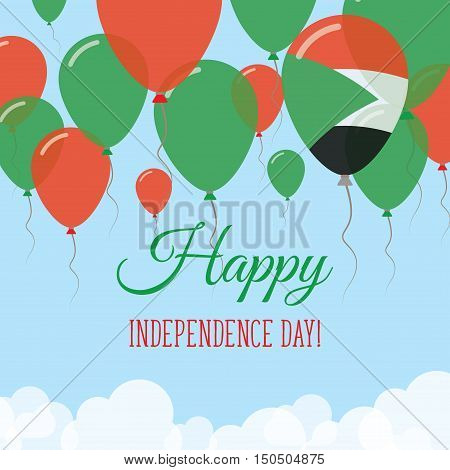 Sudan Independence Day Flat Greeting Card. Flying Rubber Balloons In Colors Of The Sudanese Flag. Ha