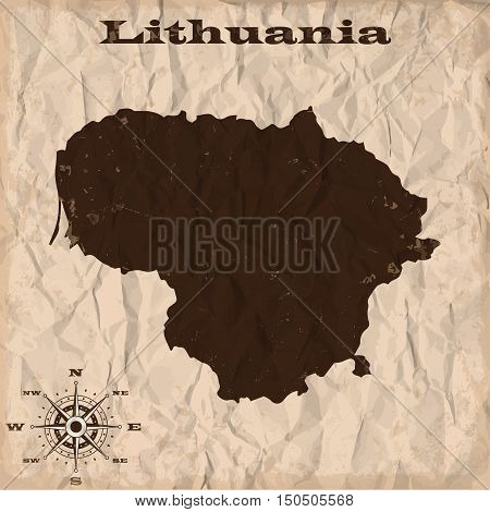 Lithuania old map with grunge and crumpled paper. Vector illustration