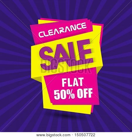 Clearance Sale with Flat Discount Upto 50% Off, Creative Paper Tag or Banner on abstract purple rays background.