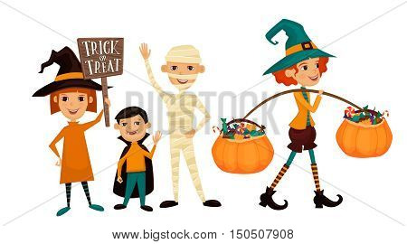 Kids in Halloween costumes mummies, vampire and witches with sign Trick or Treat. Kids in Halloween festive design concept. Beggars Night holiday. All Hallows Evening. Cartoon vector illustration.
