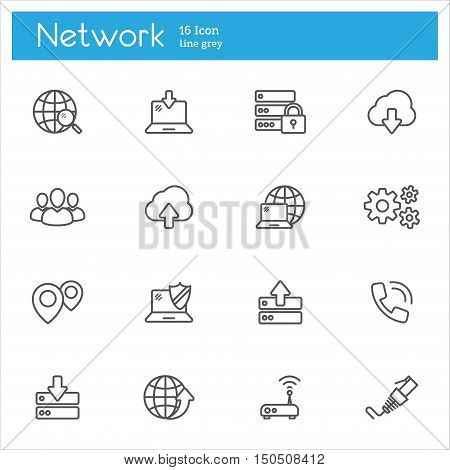 Set of icons on the topic of data cloud computing system Internet access password protection technology.