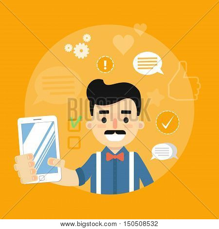 Shopping advertising in social media. Online sale technology. Seller with gadget. Social media network people. Cartoon seller vector. Online shopping or online marketing concept. Ecommerce. Online seller. Online shopping flat vector. Sale. Seller banner.
