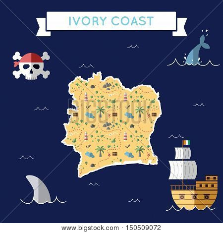 Flat Treasure Map Of Cote D'ivoire. Colorful Cartoon With Icons Of Ship, Jolly Roger, Treasure Chest
