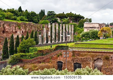 ruins of an ancient forum romanum in Rome Italy