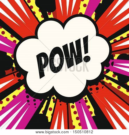 Vintage cartoon pop art comics speech bubble (Pow!) in vector.