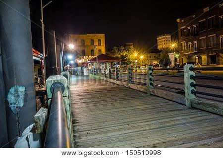 Riverfront Board Walk Scenes In Wilmington Nc At Night