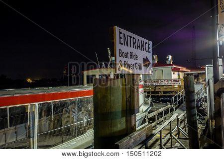 Riverfront Board Walk Scenes In Wilmington Nc At Night